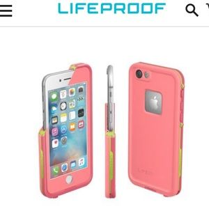 Lifeproof pink & green Iphone 6/6S case.
